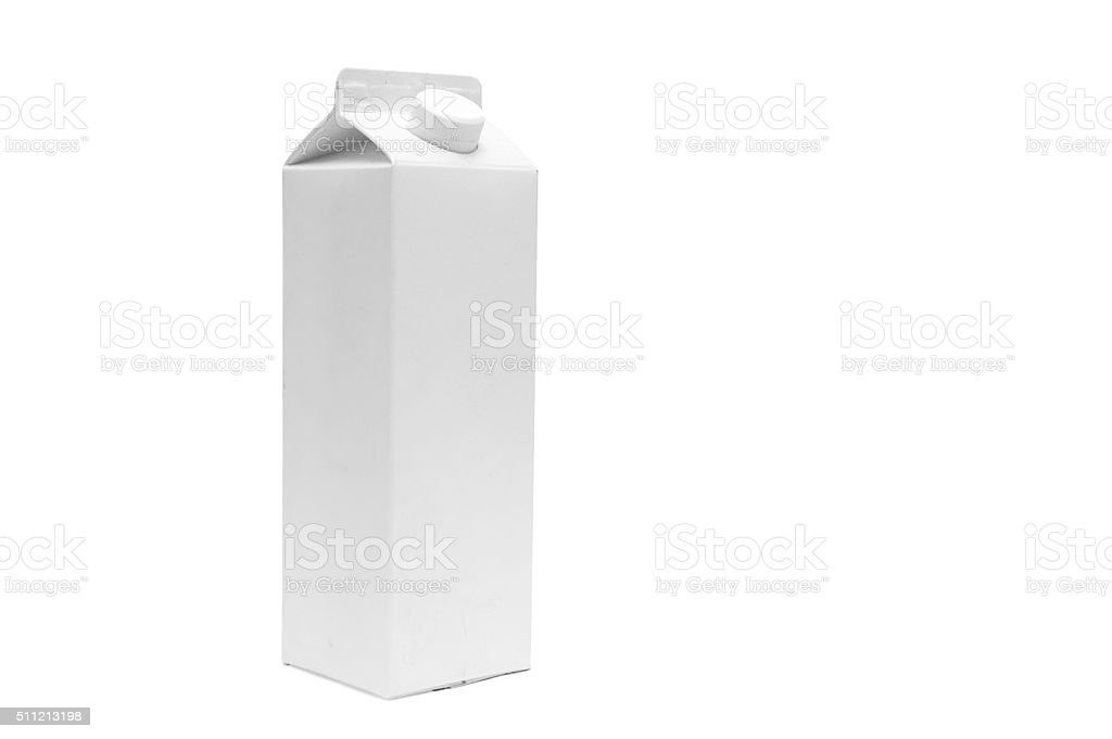 White blank milk box on white background stock photo