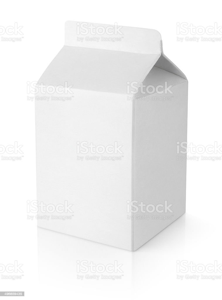 White blank milk carton package stock photo