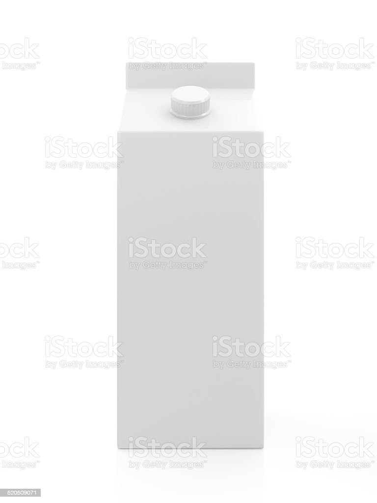 White Blank Milk or Juice Package isolated on white background stock photo