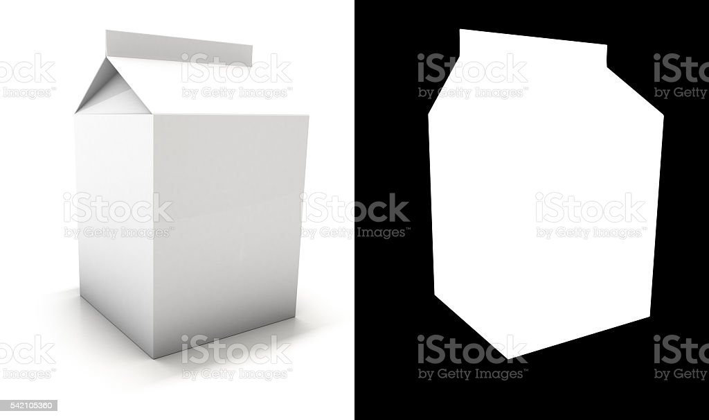 White Blank milk package with shadow stock photo