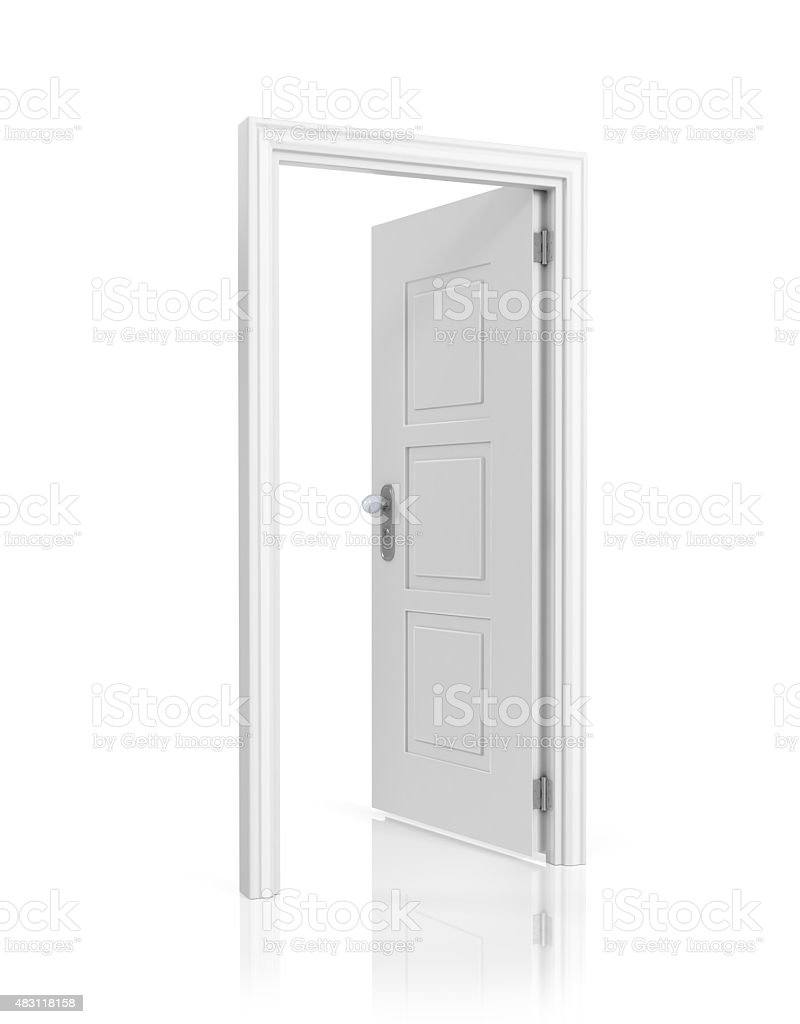 White blank opened door template, isolated on white background. stock photo