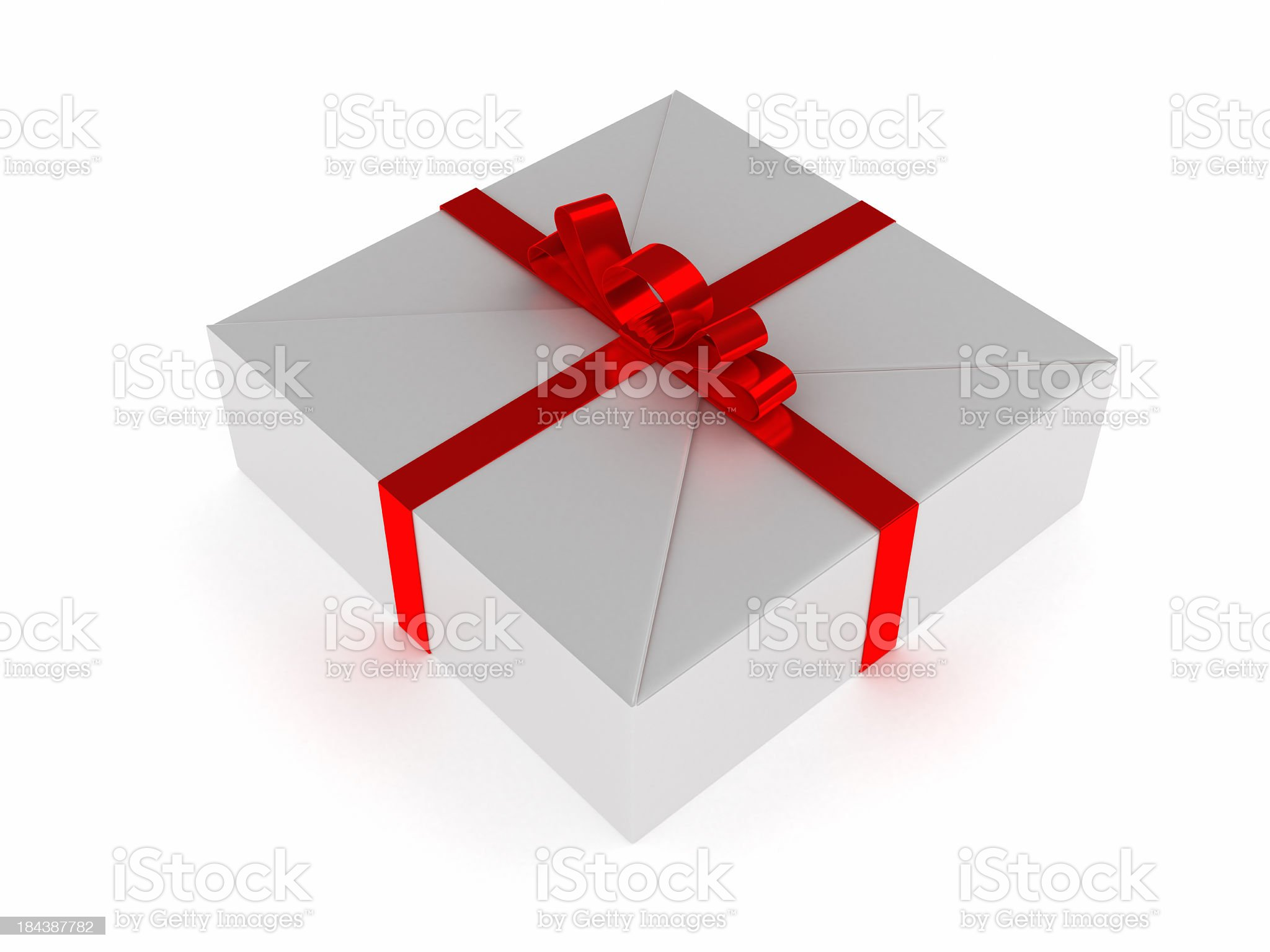 White Blank Package Gift Box Red Satin Ribbon Bow 3 royalty-free stock photo