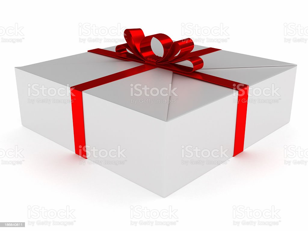 White Blank Package Gift Box Red Satin Ribbon Bow  6 royalty-free stock photo