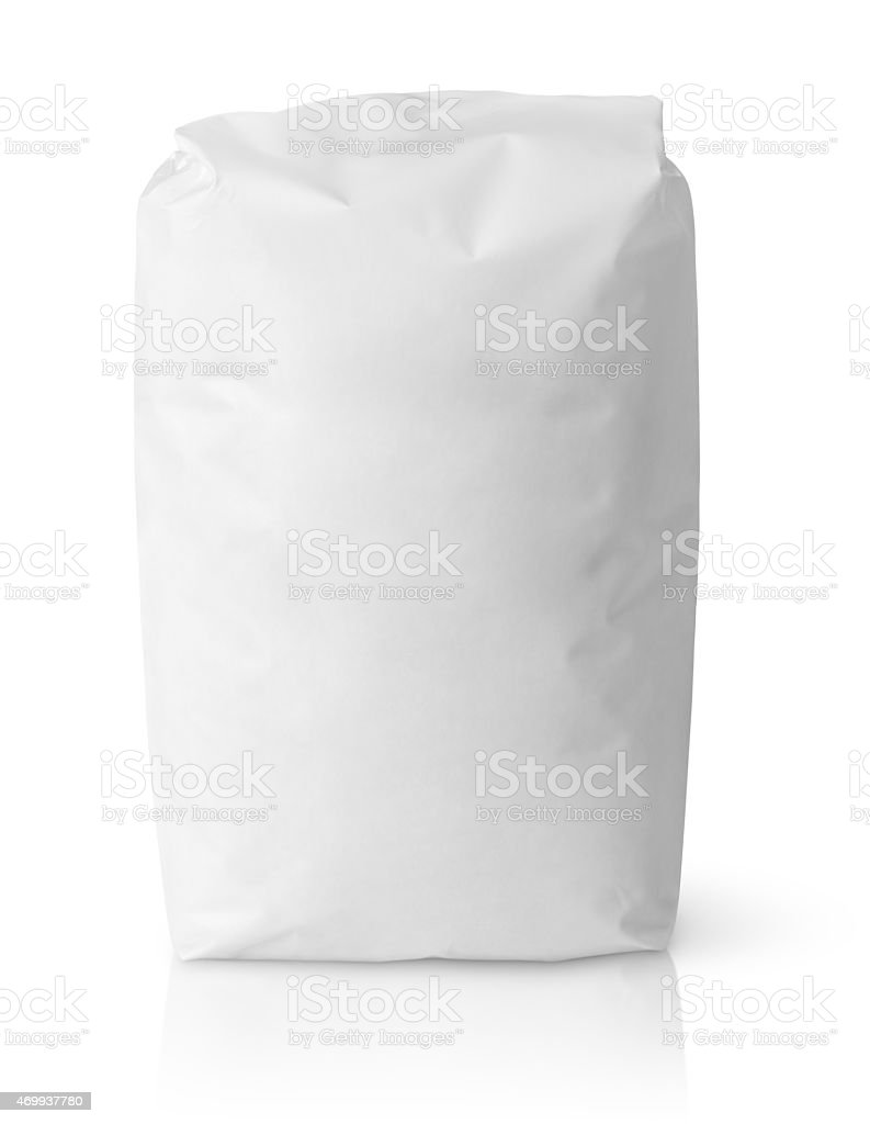 White blank paper bag package of flour stock photo