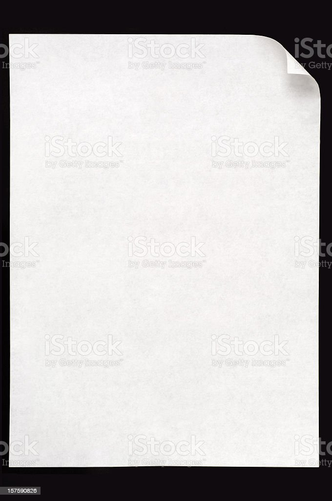 White blank paper isolated on black background stock photo
