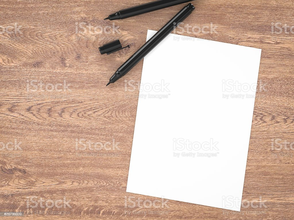 white blank paper with black pens stock photo