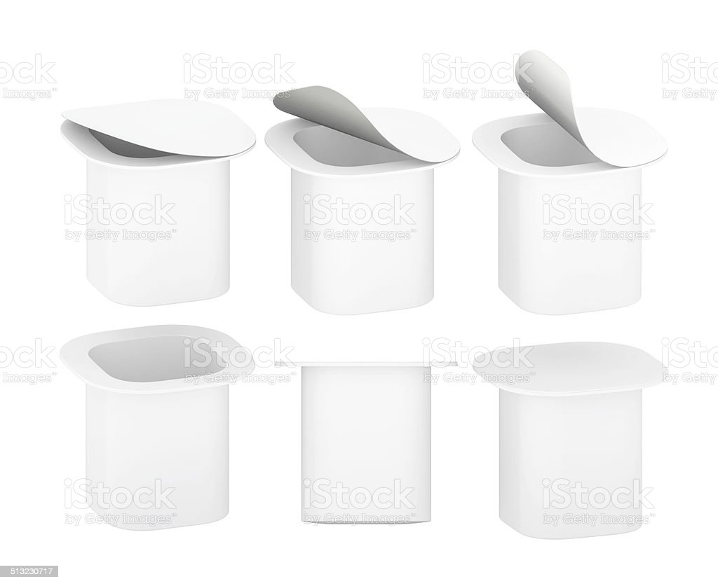 White blank plastic  yogurt cup with clipping path stock photo