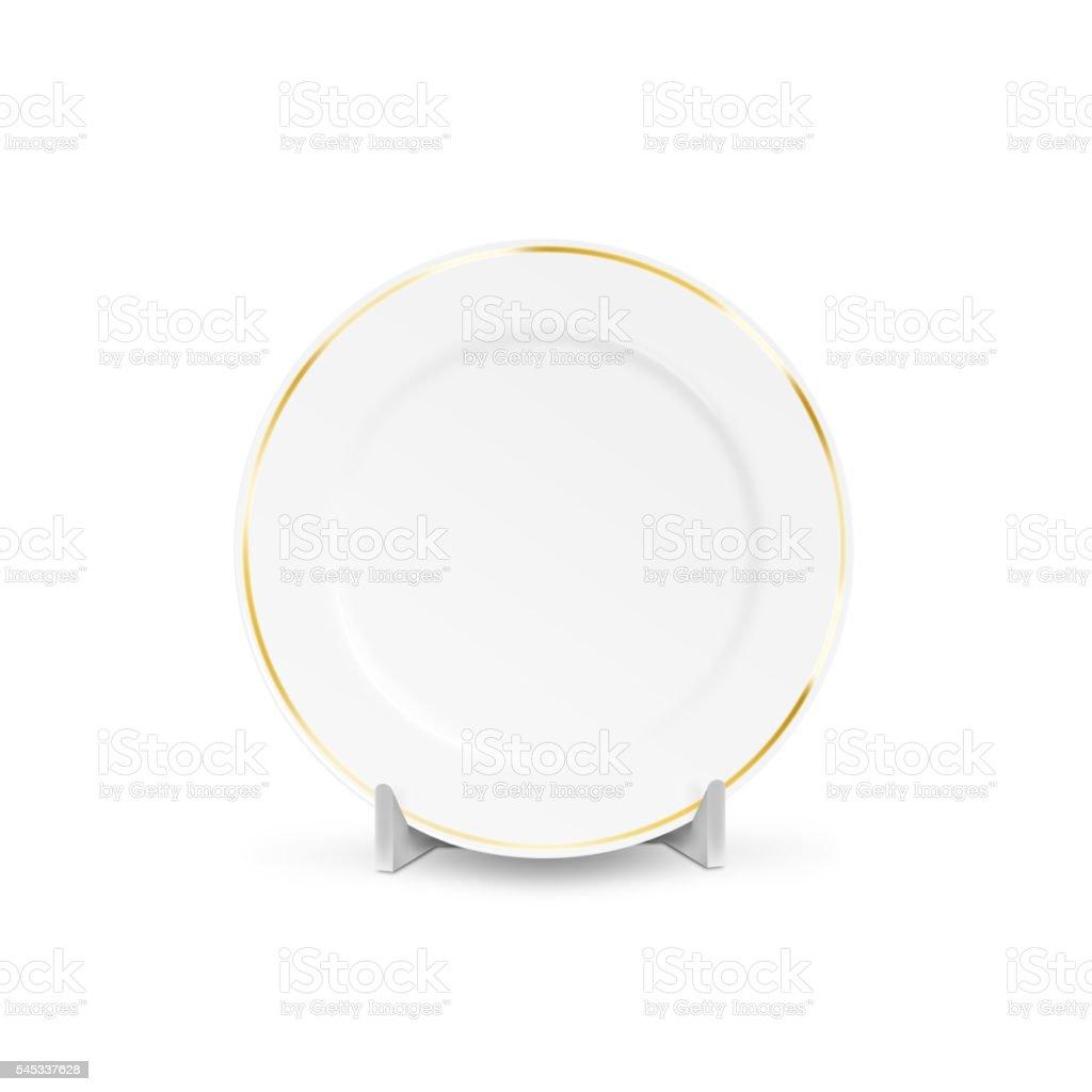 White blank plate mock up holder isolated. Empty dish mockup stock photo