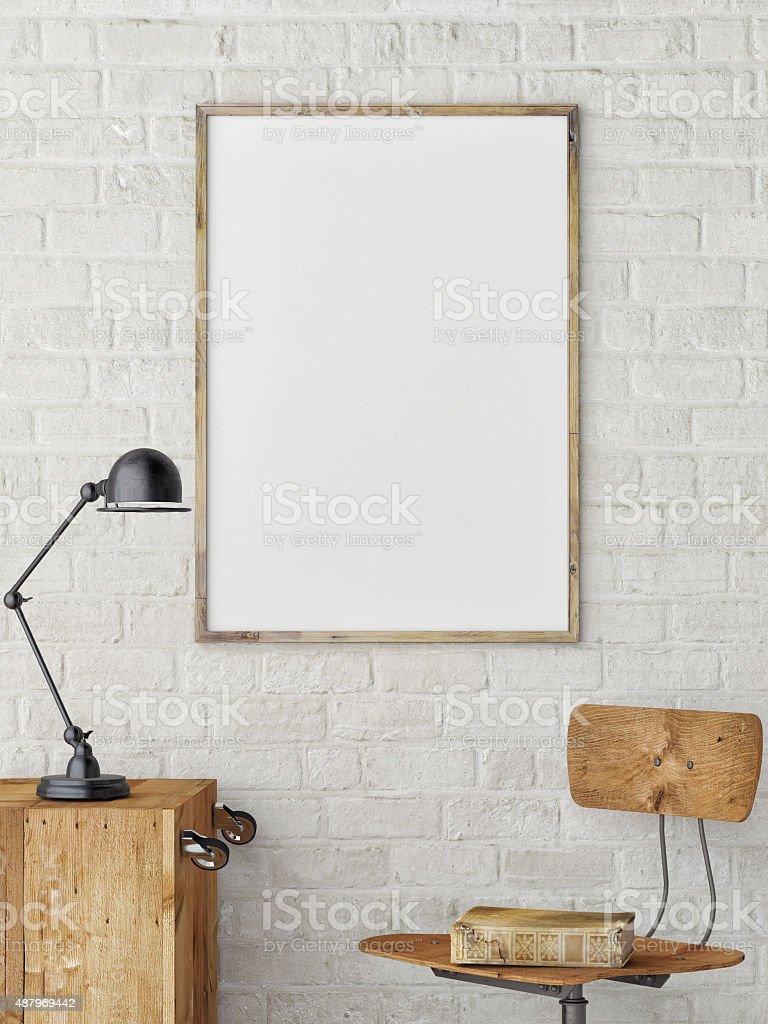 White Blank Poster in white brick wall stock photo