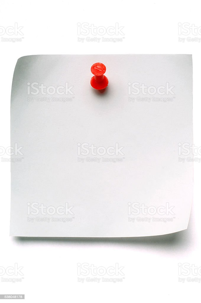 White blank Post-it note with push pin stock photo