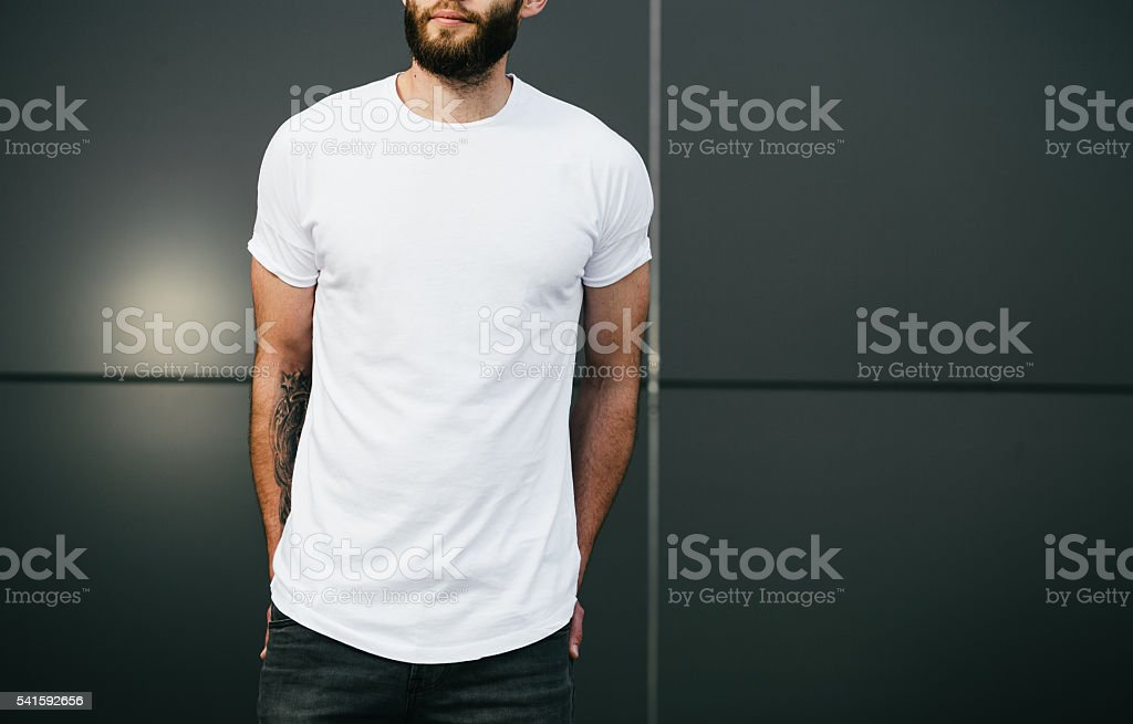 white blank t-shirt with space for your logo stock photo