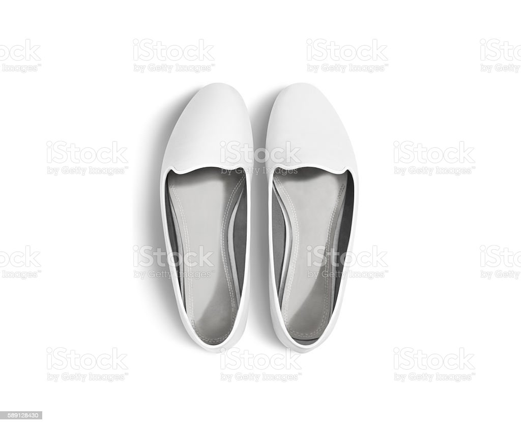 White blank women shoes mockup isolated, top view, clipping path. stock photo