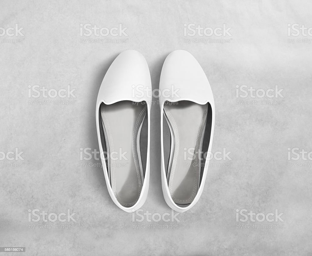 White blank women shoes mockup stand isolated, clipping path. stock photo