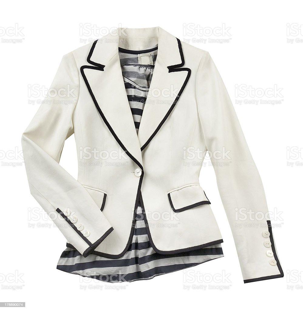 White blazer with striped t shirt stock photo