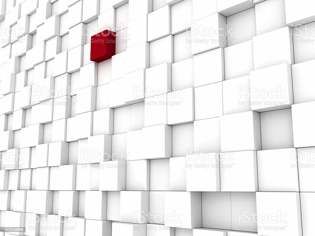White Blocks Background One Red royalty-free stock photo