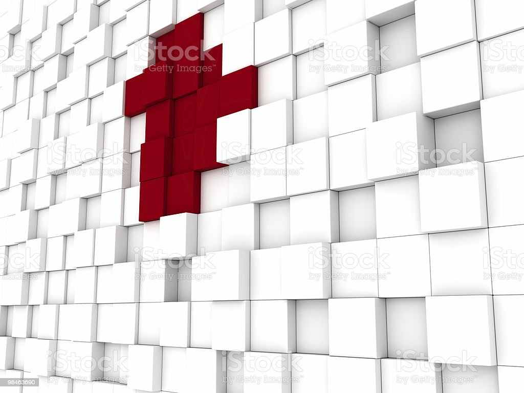 White Blocks Background with Some Red royalty-free stock photo