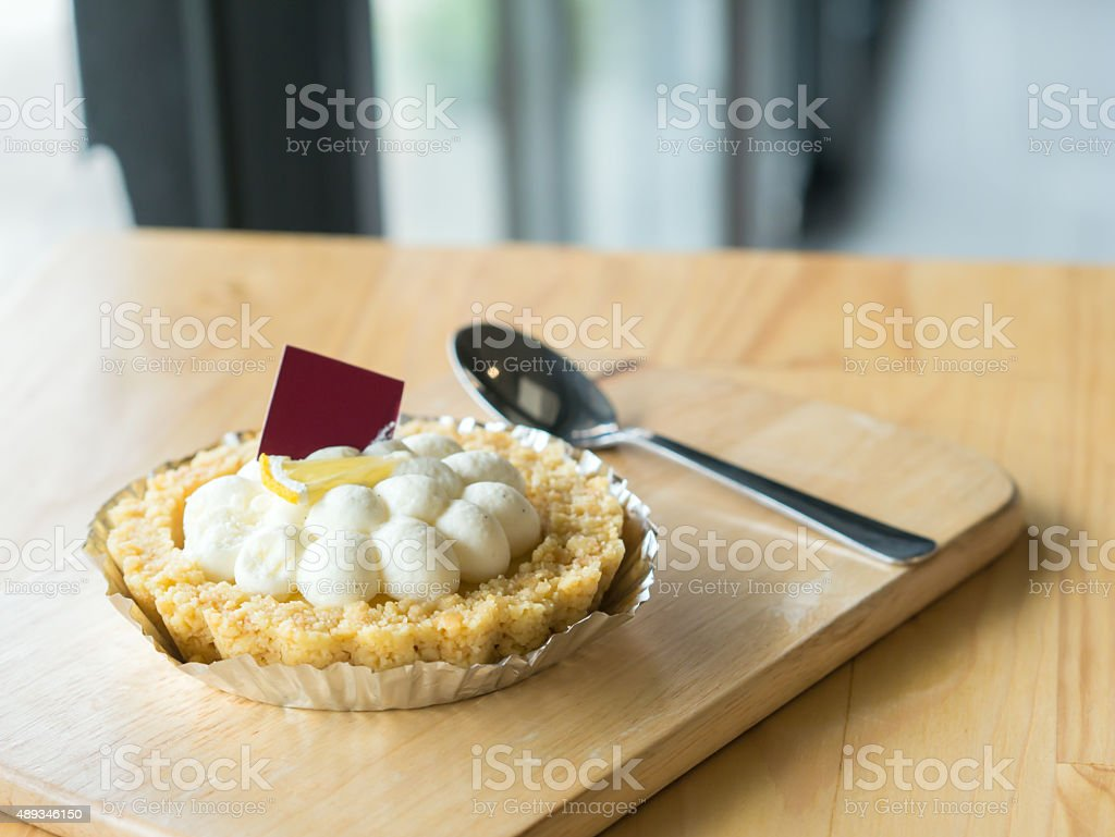White bloom pie with piece of fresh lemon. royalty-free stock photo