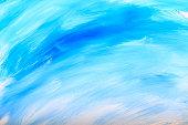 White Blue Paint Mixed Clouds Sky Vibrant Colour