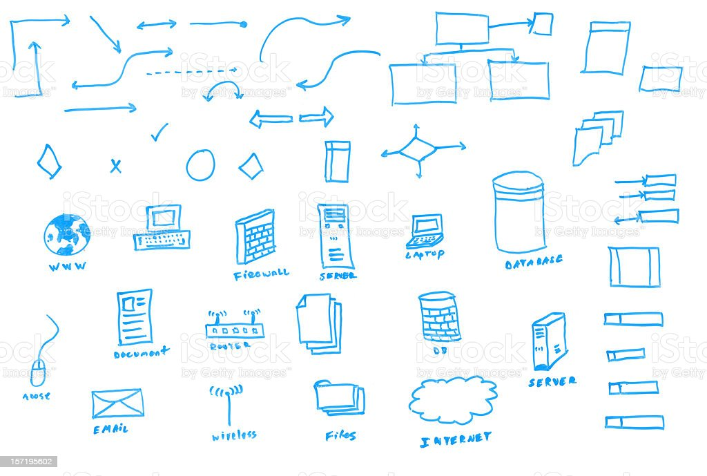 White Board Drawn Data Flowchart Icons stock photo