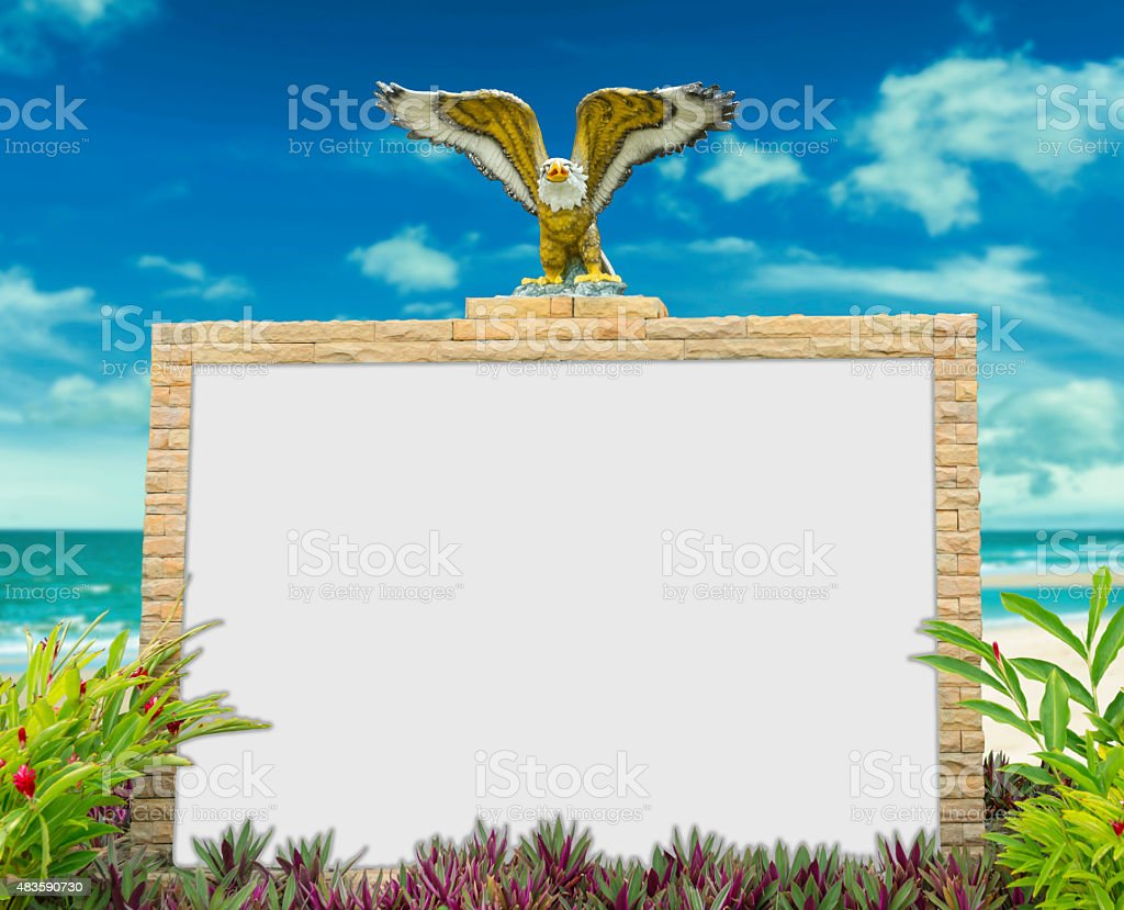 White board in nature and sea beach blurred background. royalty-free stock photo