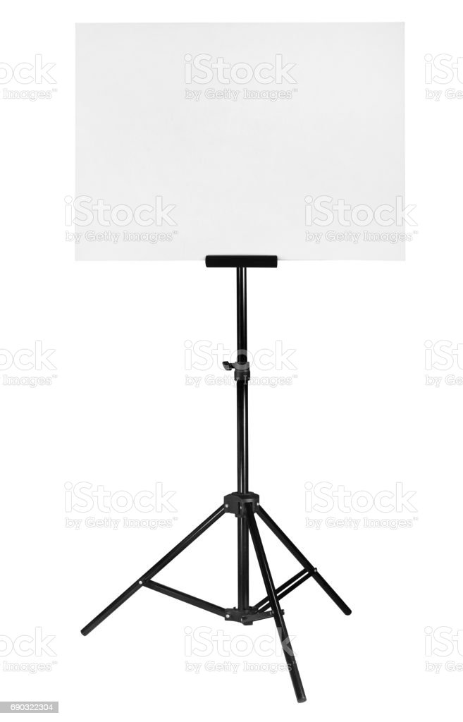 White board on a stand isolated on a white background stock photo
