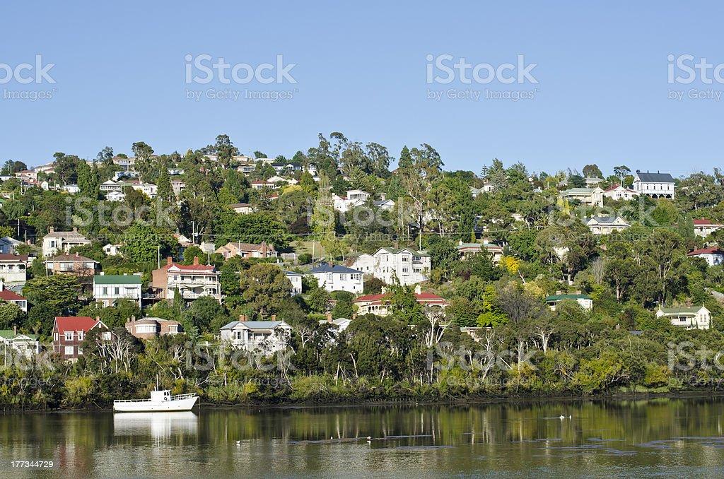White boat on Tamar River, Trevallyn, Launceston, Tasmania stock photo