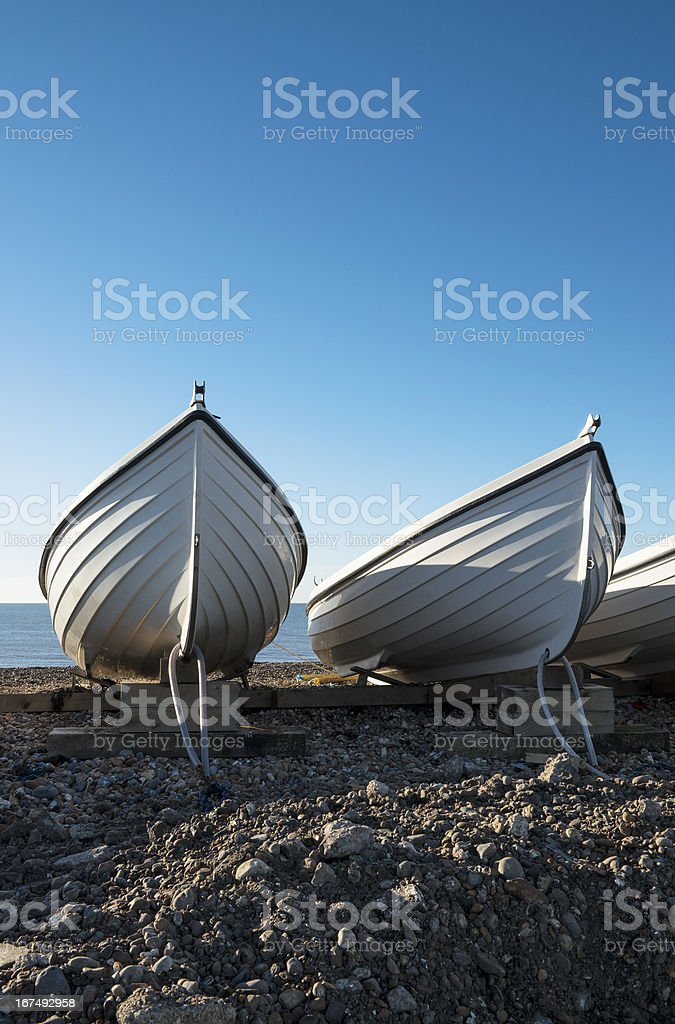 White Boats at Hove, near Brighton, East Sussex, UK. royalty-free stock photo