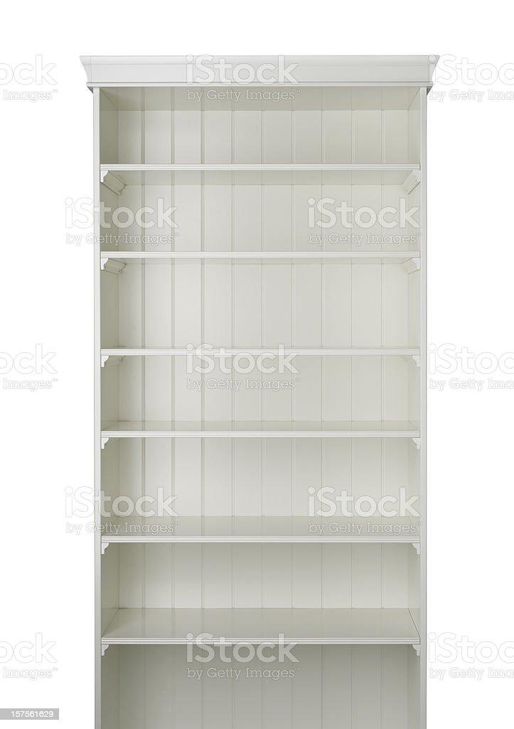 A white book shelf on a white background royalty-free stock photo