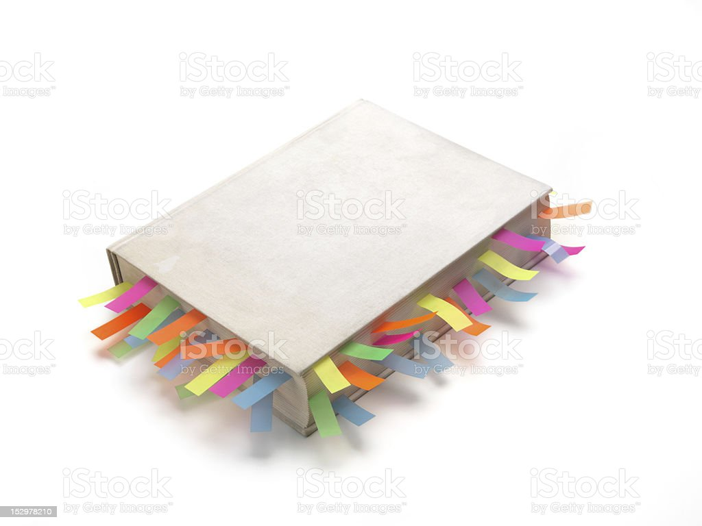 White book with colourful tags royalty-free stock photo