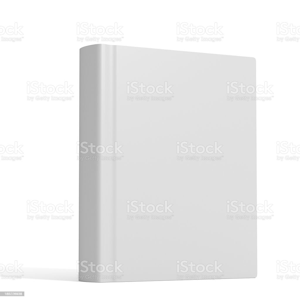 White book with no title standing on white background stock photo