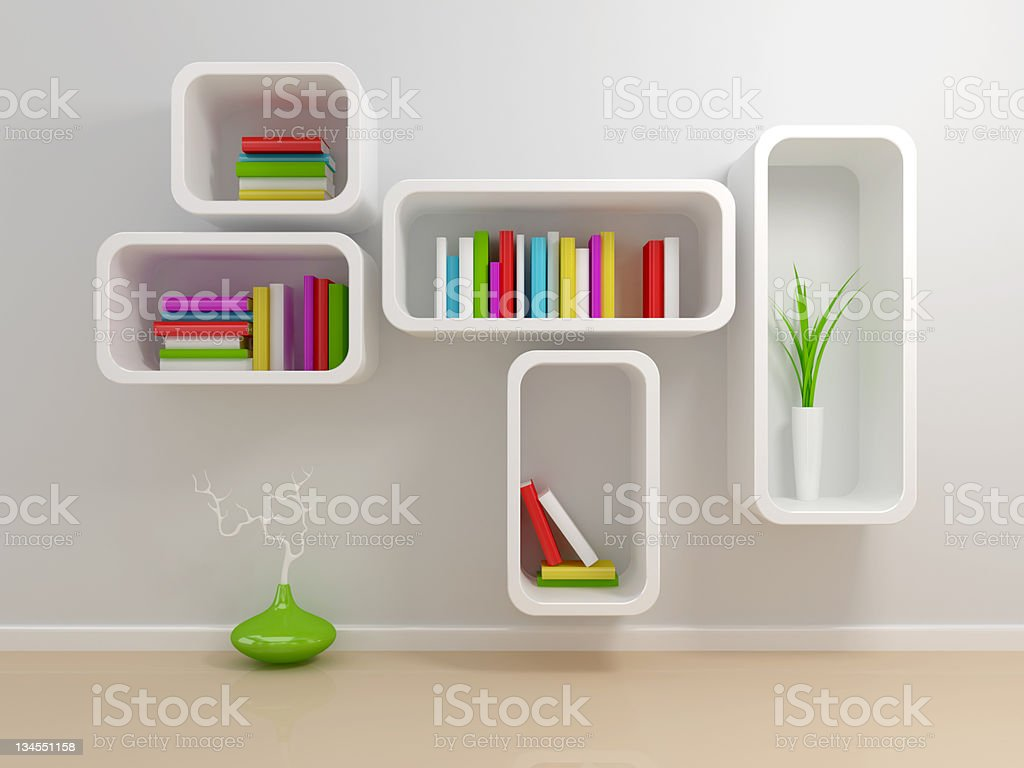 White bookshelf royalty-free stock photo