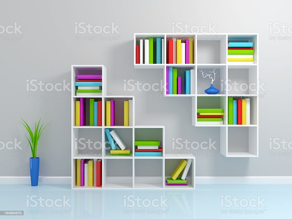 White bookshelf with a colorful books. royalty-free stock photo