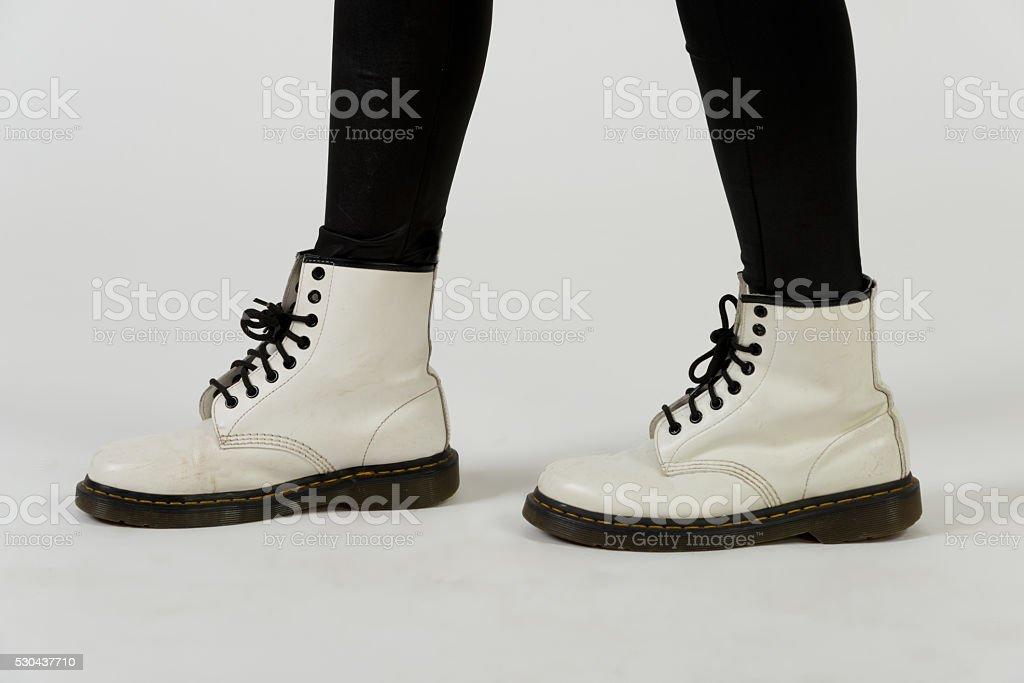 White boots stock photo