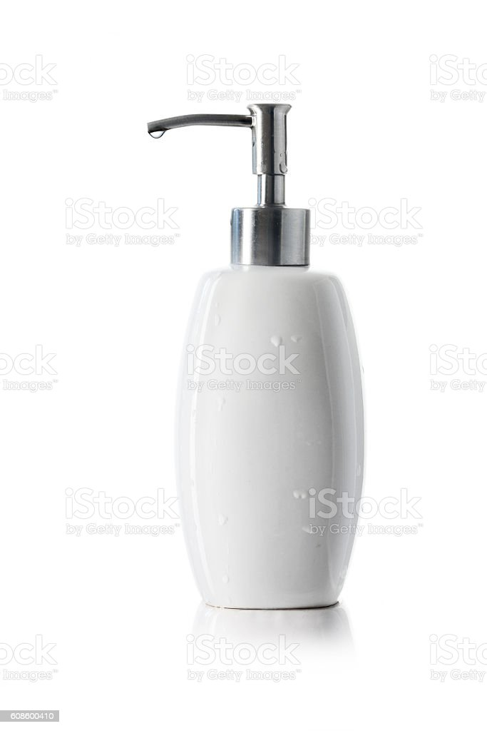 white bottle with dispenser pump for liquid soap isolated stock photo