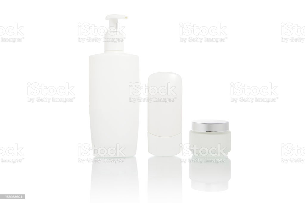 White bottles set (beauty hygiene container) royalty-free stock photo