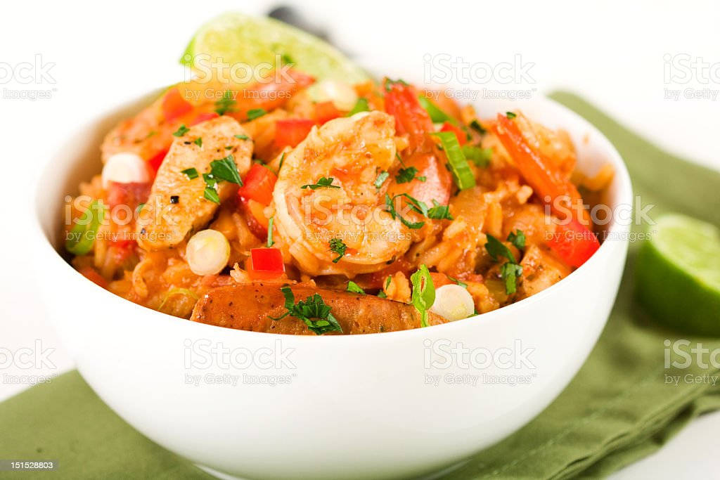 White bowl filled with jambalaya royalty-free stock photo