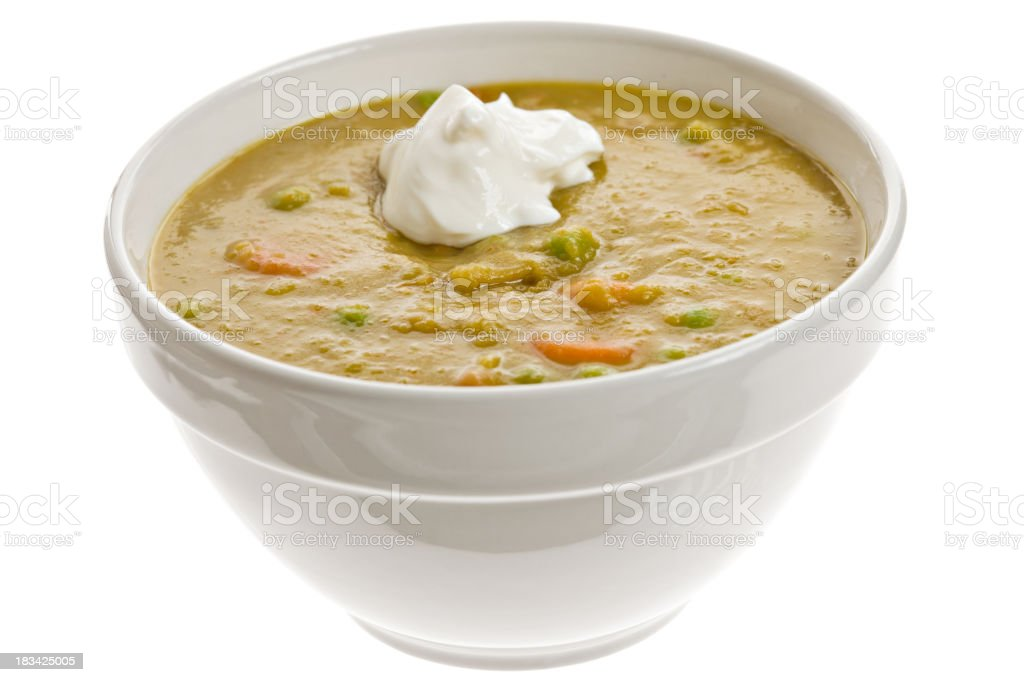 White Bowl Filled With Split Pea Soup stock photo