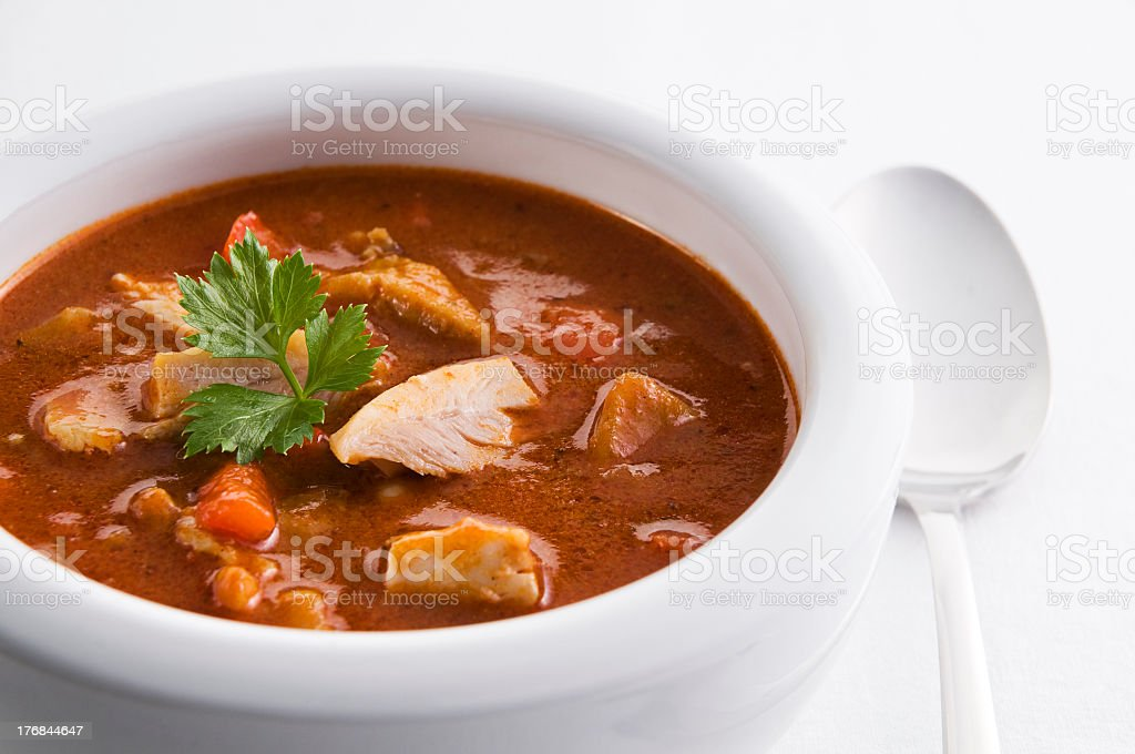 White bowl of stew with chicken and carrots next to a spoon stock photo