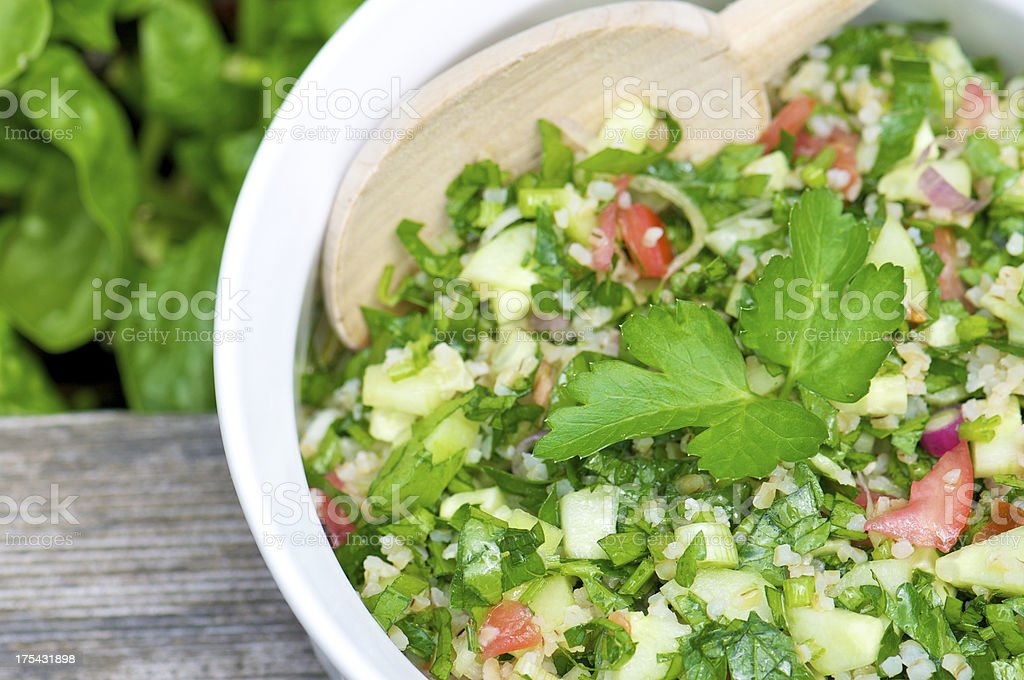 White Bowl of Tabbouleh from Above royalty-free stock photo