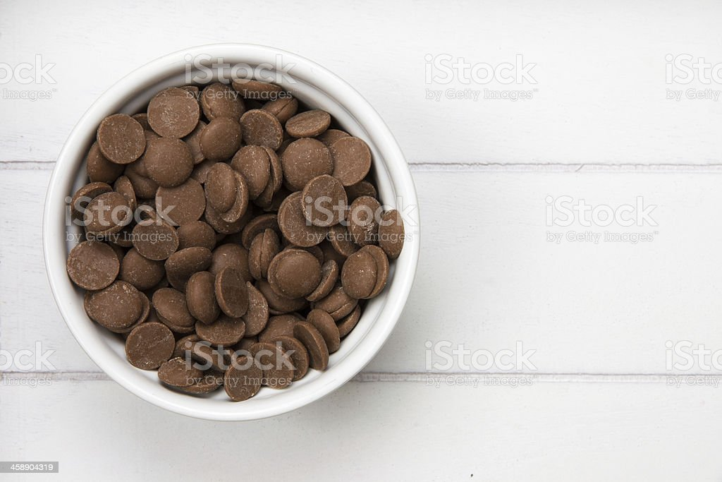 white bowl with chocolate pieces stock photo