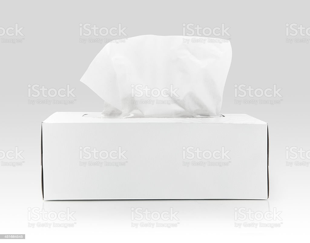 White box of tissues on a white background stock photo
