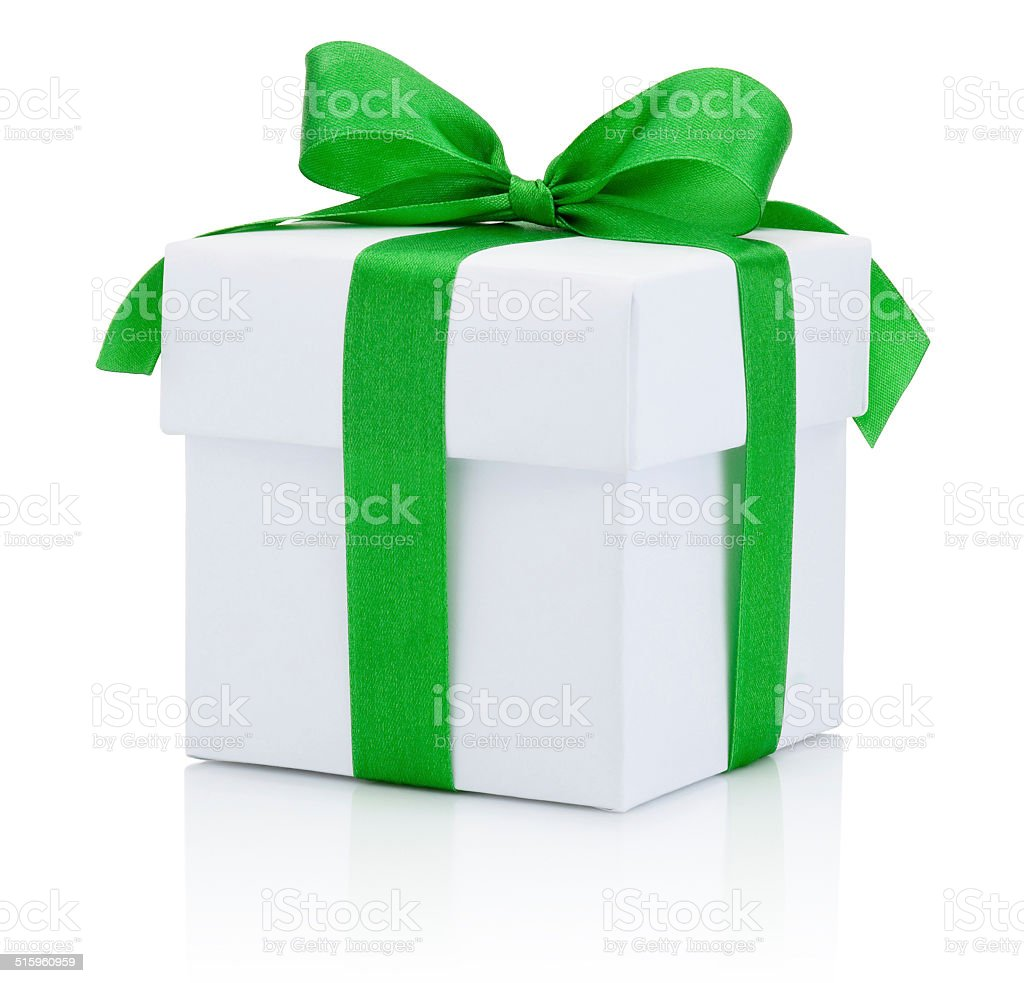 White box tied green ribbon bow Isolated on white background stock photo