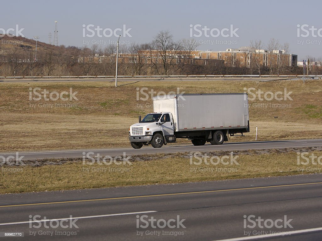 White Box Truck royalty-free stock photo