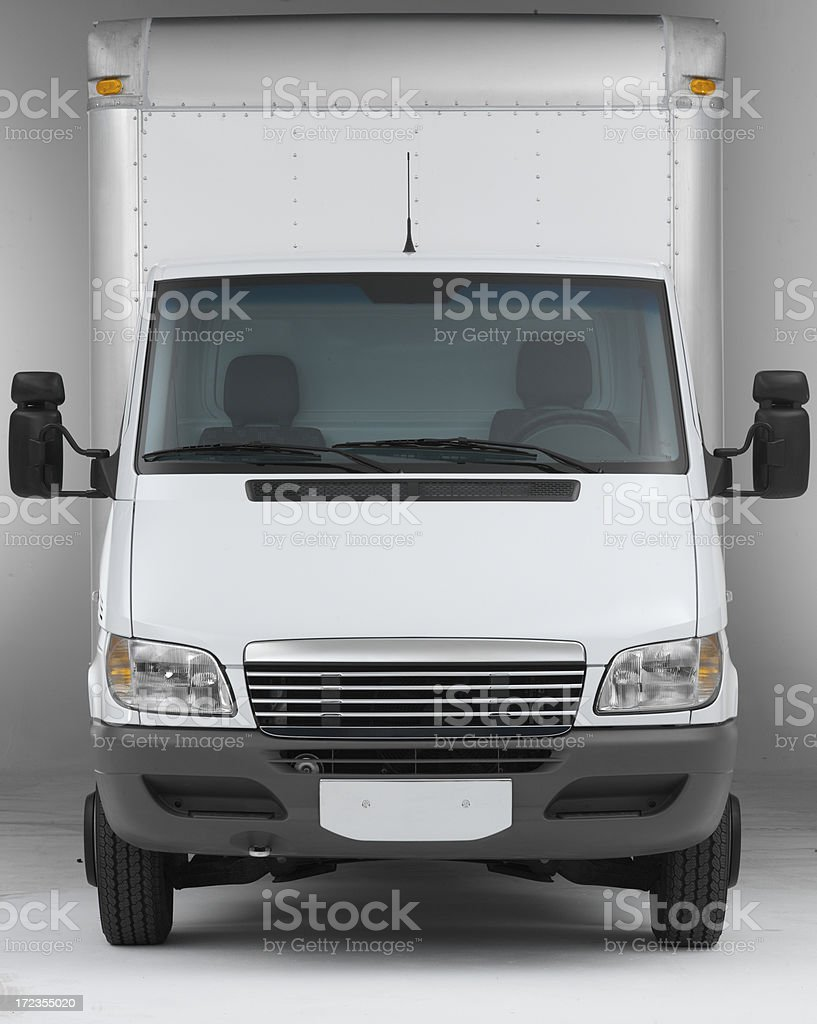 White box truck straight on front (clipping path) stock photo