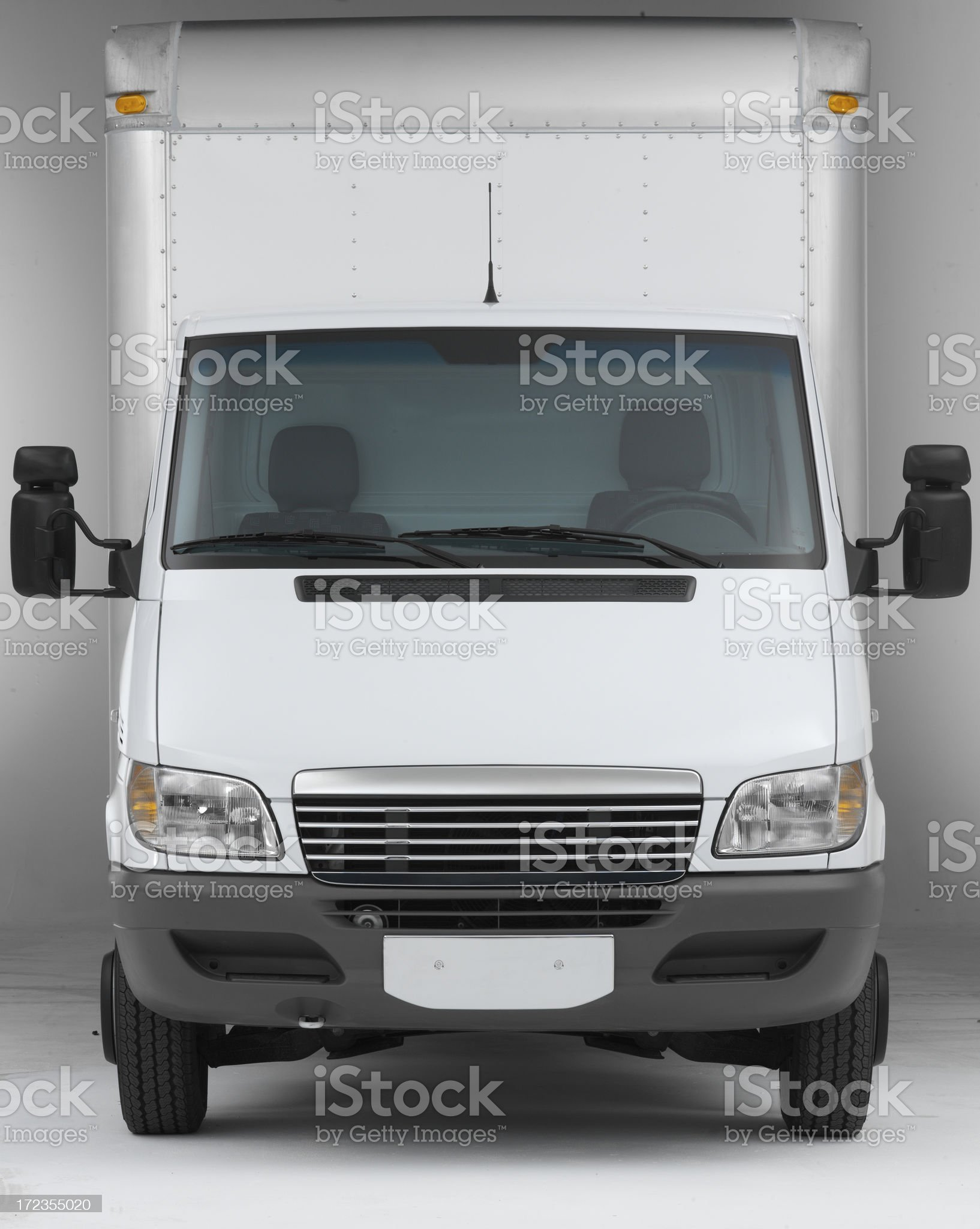 White box truck straight on front (clipping path) royalty-free stock photo