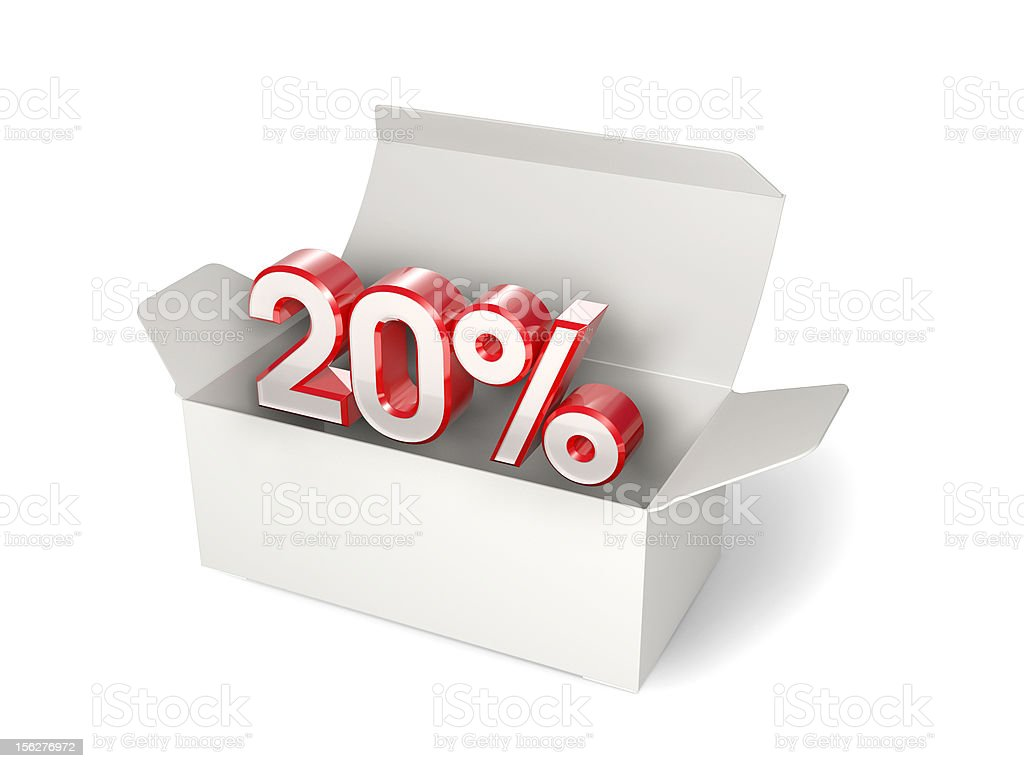 White box with 20% discount sign royalty-free stock photo