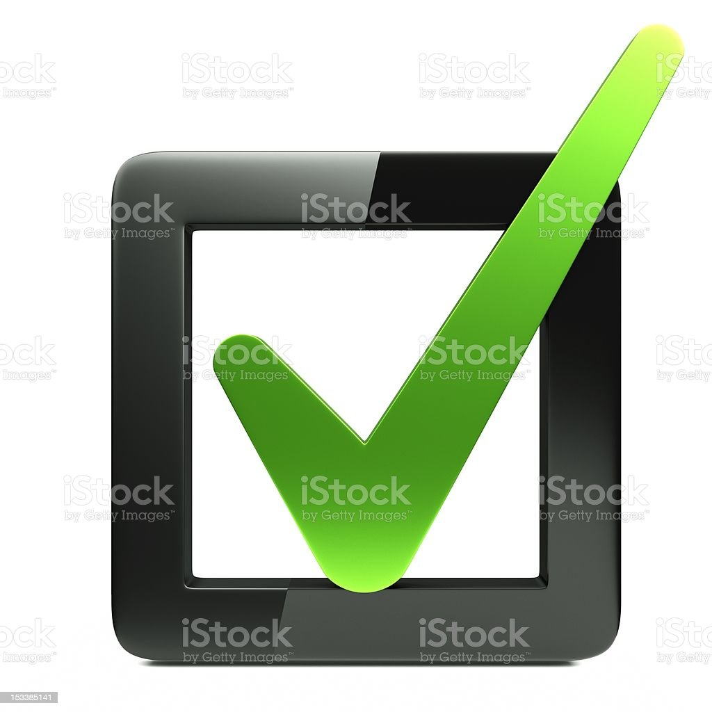 White box with black outline with green check mark inside stock photo