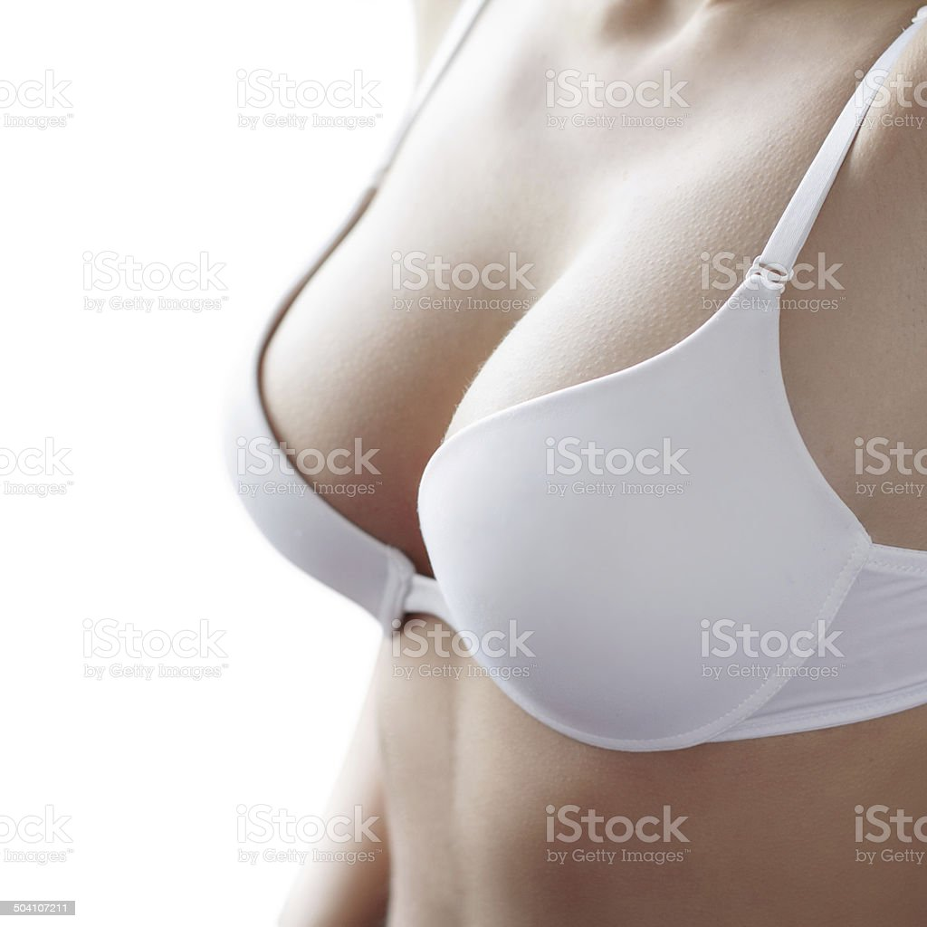 White bra on woman body stock photo
