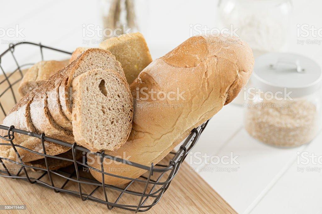 white bread and whole bread stock photo
