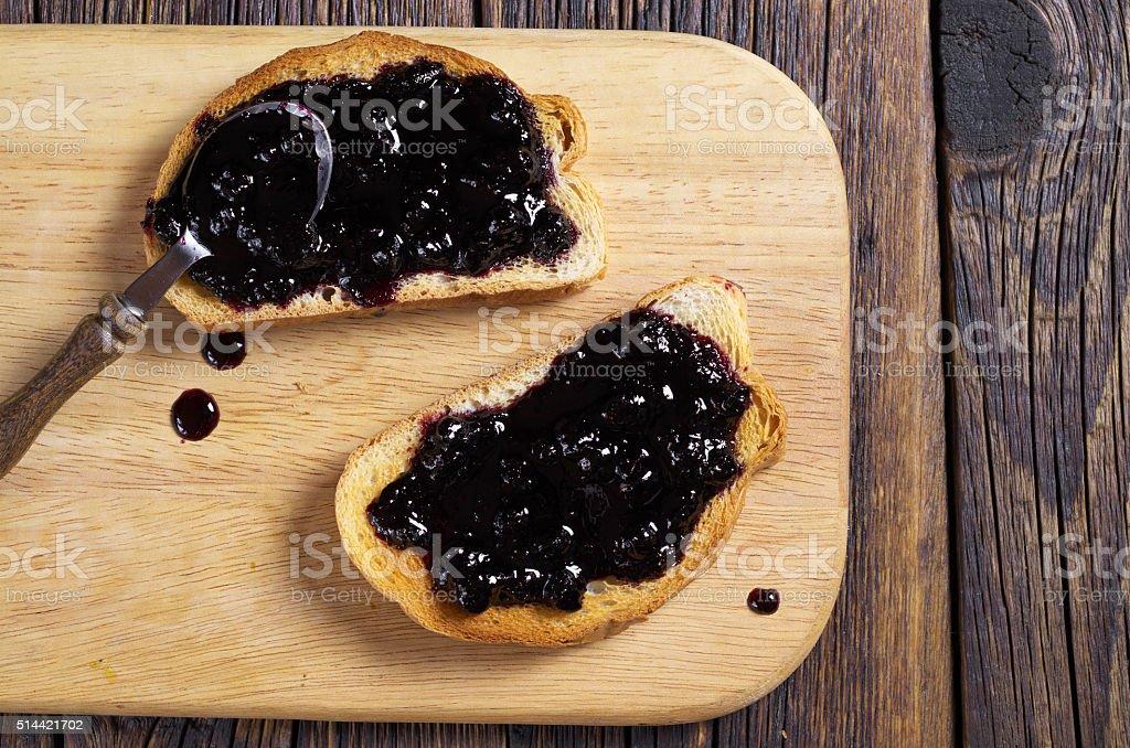 White bread with jam stock photo